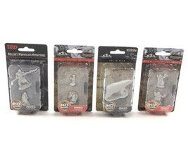 Lot of 4 Miniature Figurines: WizKids Polar Bear, D&D, Pathfinder Male &... - $19.95