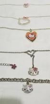 HELLO KITTY JEWELRY Three Necklaces & Bracelet RHINESTONES Locket SILVER... - $20.25