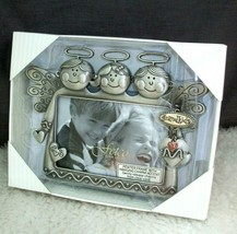 Grandkids Picture Frame 4 x 6 Photo Little Angels Hanging Charms Hearts ... - £13.55 GBP