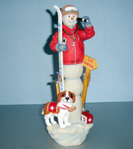 Lenox Snowy Rescue Ski Patrol 2016 Pencil Snowman Figurine with St. Bernard New - $73.90