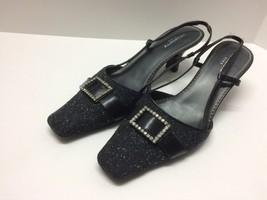 Liz Claiborne Flex Womens Slingback Heels Size 8.5 Gem Buckle Ladies Black - $31.14