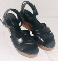 Via Spiga Black Leather Ankle Wedge Heel Sandals Women's Size 9 M - $46.75