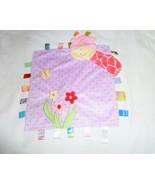 TAGGIES Purple Polka Dot Plush Giraffe Lovey Security Blanket Flowers Butterfly - $26.72