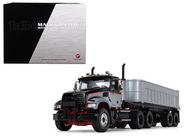 Mack Granite with End Dump Trailer Black and Silver 1/34 Diecast Model by First  - $157.06