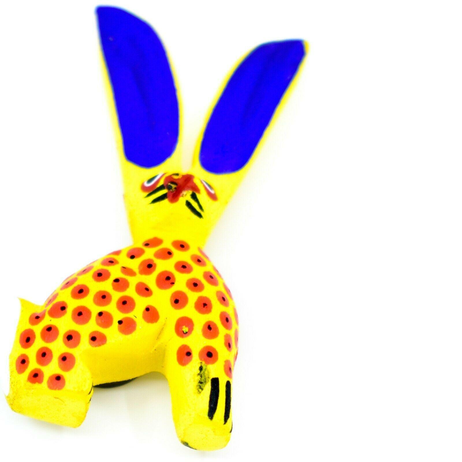Handmade Alebrijes Oaxacan Wood Carved Folk Art Rabbit Magnet