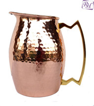 Pure copper Hammered Jug NEW Heavy Gauge Moscow Mule Water Pitcher Drink... - $55.93