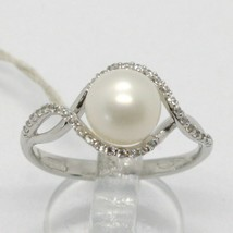 18K WHITE GOLD BAND PEARL ZIRCONIA RING ONDULATE, WAVE, BRAIDED, MADE IN... - $513.80
