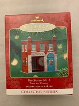 Hallmark Keepsake Ornament Fire Station No.1 Pressed Tin Litho 2001 Christmas - $13.99