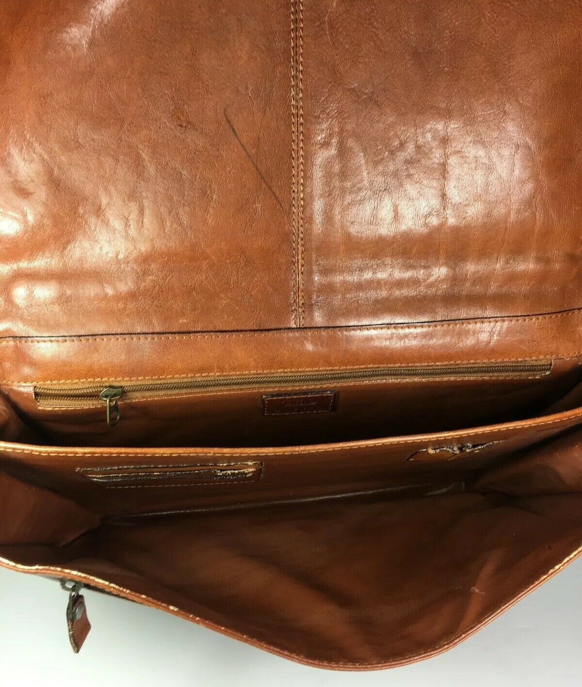 Satchi Vintage Brown Leather Briefcase- Distressed- Missing Strap and Buckles