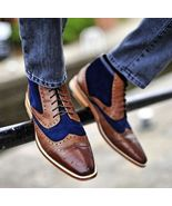 Men two tone wingtip brogue ankle boot Men brown and navy casual boot, M... - $169.99+