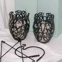 Two PartyLite Couture Hanging Candle Holders Black Powder Coat P9086 - $45.95