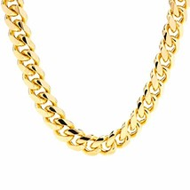 Lifetime Jewelry Cuban Link Chain 11MM Round 24K Gold Plated Thick Neckl... - $147.17