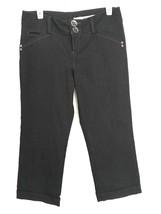 DKNY Women 9 Capri Black Jeans Cropped Cuffed Pinstripe Double Button  - $19.98