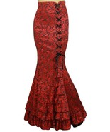 MERMAID JACQUARD FISHTAIL LONG CORSET GOTHIC VICTORIAN RED SKIRT STEAMPUNK - £46.29 GBP+
