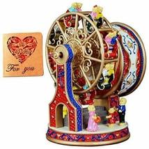 Vintage Music Box Ferris Wheel Rotating Resin Carved Mechanism Musical (... - $80.39