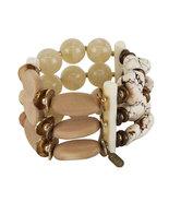 Treska Baja 3-Row Chunky White-Washed Shell/Wood Stretch Bracelet- NOW 2... - $29.90