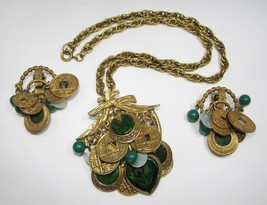 Vintage ART Large Chinese Coin Gold Tone Faux Jade Necklace Earrings Set C1307 - $163.41