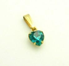 Blue Green Glass Rhinestone Heart Gold Tone Necklace Pendant Vintage - $16.82
