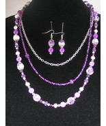 NEW Beautiful Purple and White Ceramic Flower 3 strand Necklace with Ear... - $40.00