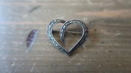 "Vintage Sterling Silver Marcasite Heart Brooch 1 1/8"" - $17.81"
