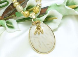 Oval Petrified White Palm Wood Pendant Gold Freshwater Pearl Necklace - $27.00