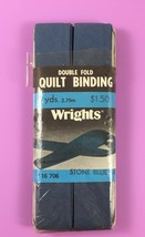 Wrights Stone Blue 58 Double Fold QUILT BINDING 3 Yds 1983 Vintage New - $3.76