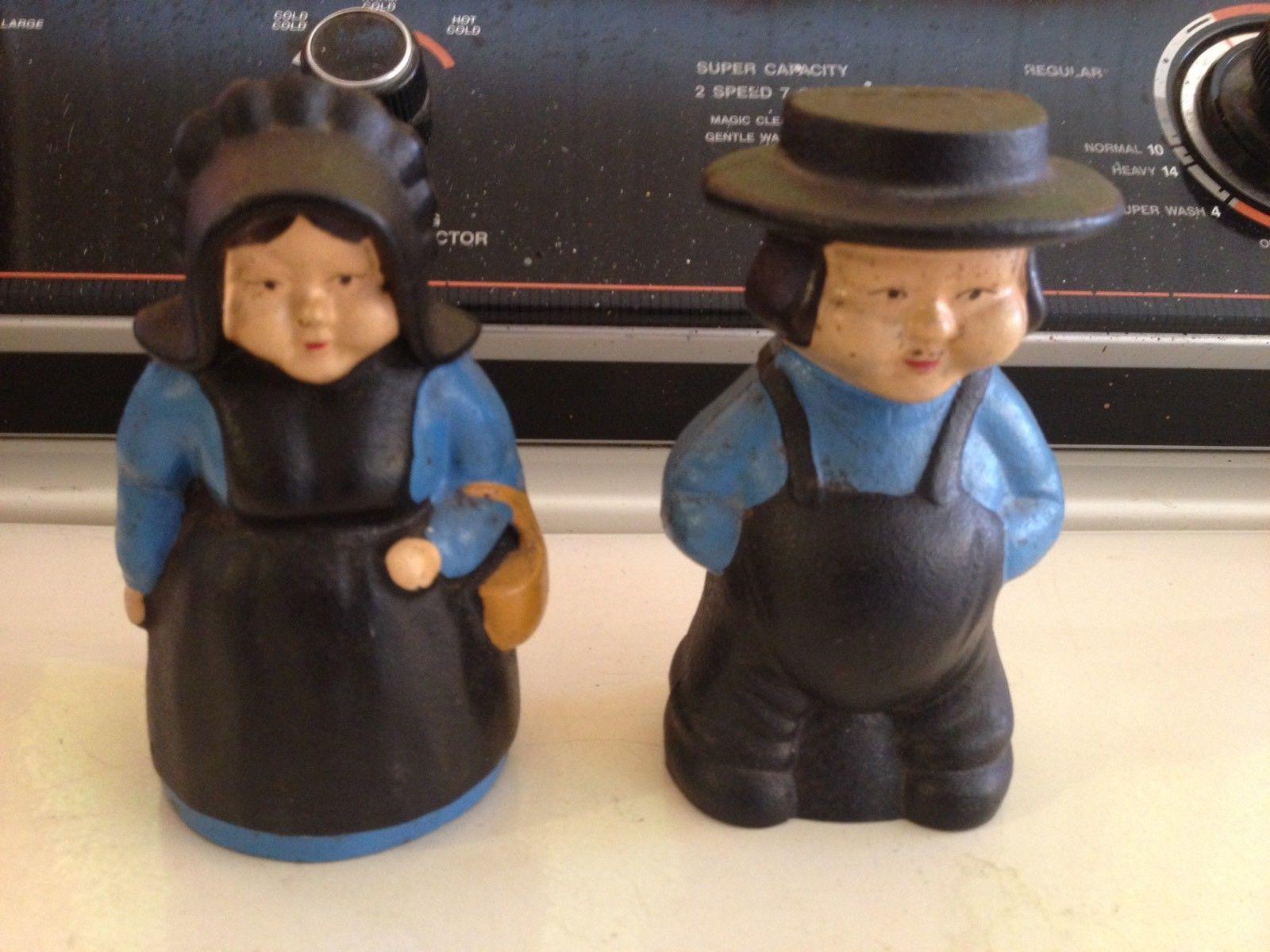 Vintage Pair Cast Iron Amish Couple Piggy Coin Bank Black Blue American Gothic