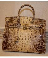 Sac de Jour Extra Large Birkin Bag Crocodile-Embossed Leather Satchel - $425.00