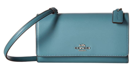 Coach  Cross body Wallet Phone Case 65558 Smooth Leather MARINE blue Gif... - $98.99