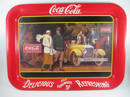 Coca-Cola Tin Tray Set of 2 1920s Themed Trays Touring Car and 7 Million - $22.28