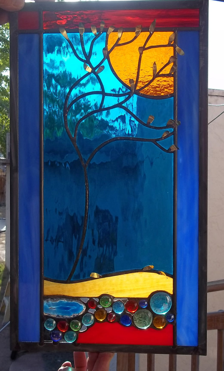 Stained Glass Window Panel falling leaves brilliant creek geode tree turquoise r