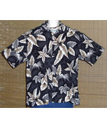 Saddlebred Hawaiian Shirt Black Gray Brown Palm Trees Tropical Leaves XL - $19.99