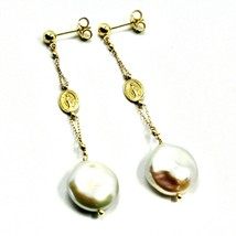 """18K YELLOW GOLD PENDANT EARRINGS, FW DISC PEARLS AND MIRACULOUS MEDAL, 2.56"""" image 1"""