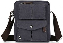 Small Vintage Canvas Shoulder Bag Messenger Bag (Blue Black) - $60.86
