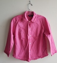 Gap Women's 100% Cotton Button Down Shirt Ruffles Pink Size S Solid Pre-owned - $13.49