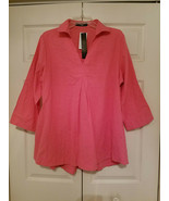 ZANZEA COLLECTION LADIES V-NECK PINK COTTON TUNIC TOP XXL #020-86341240 ... - $19.75