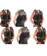 Men's New Black Western Motorbike Leather Fringes Beads Bones VEST QWV02 - $109.00+