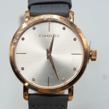 Caravelle Min/ Max Quartz Ladies Watch Stainless Steel with Gray Leather Strap - $69.29