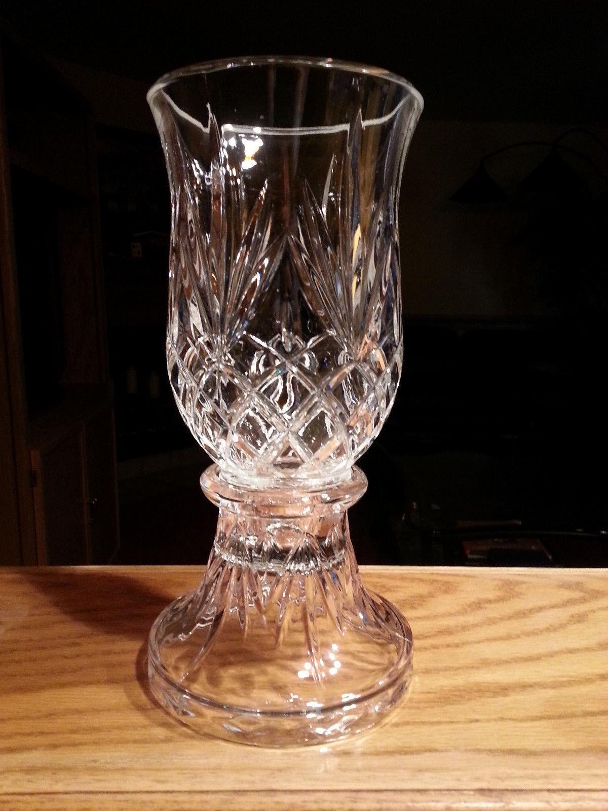 Hurricane Lamp Candle Holder 24% Lead Crystal PartyLite Savannah Wedding P0137