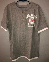 Childrens Place baseball graphic Gray Henley shirt Youth Boys size M Med... - $2.34