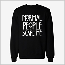 "Black Cotton Long Sleeve Printed ""Normal People Scare Me"" Warm Sweatshirt image 3"