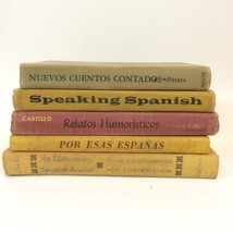Spanish Language Vintage Book Stack Yellow Neutral Cloth Bound Decorativ... - $35.14