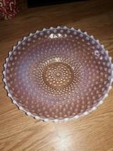 Fenton Large Cranberry Opalescent Hobnail Pink & White 12 inch Bowl EC - $31.68