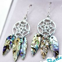 A.T. Storrs Wild Pearle Abalone Shell Filigree Dreamcatcher Dangle Hook Earrings image 3