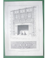 ARCHITECTURE PRINT : England Chimney Piece at Boarsall at Sussex - $11.14