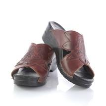 Dansko Brown Leather Etched Slides Slip On Sandals Wedges Womens 39 US 8... - $39.43