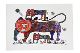 Wall Hanging Gond Painting (Exclusive Tigres with Cubs) Size :- 17/11 Inch - $135.00