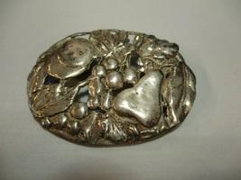 Vintage Oval Sterling Silver Brooch Fruit Marked - $25.72