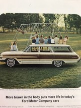 Ford Country Squire Station Wagon Vtg 1964 Print Ad Kids Sitting On Roof - $9.89