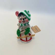 1991 Vintage Annalee Mouse with Striped Scarf & Wooden Sled - Original Tag - $14.82